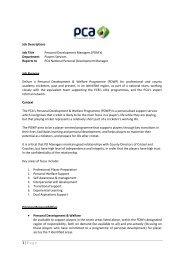 Outline Job Descriptions - The Professional Cricketers' Association
