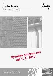 Výrazné snížení cen od 1. 7. 2012 - Isola