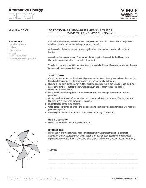 Wind Turbine Model - Science World Resources