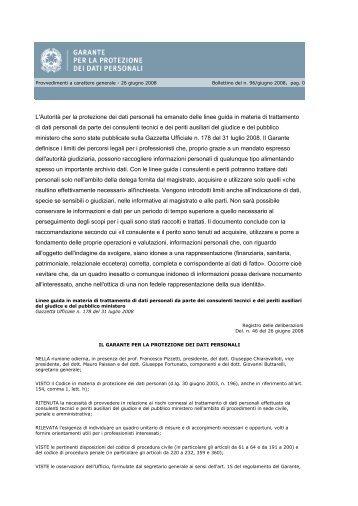 Privacy: linee guida del Garante per i consulenti del Tribunale