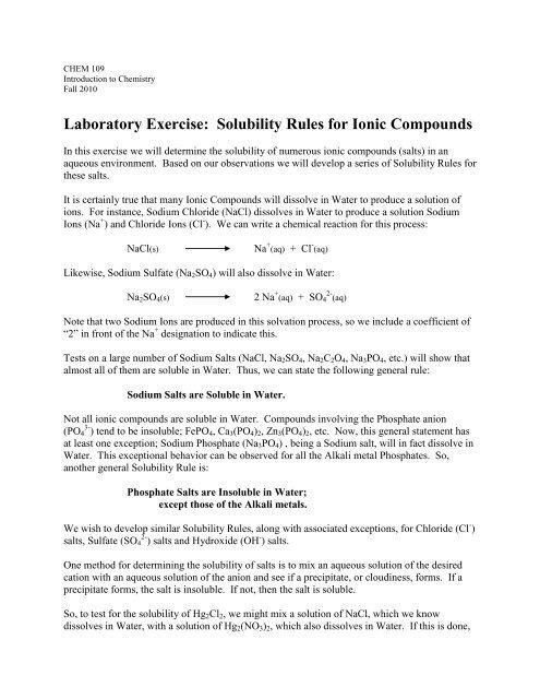 Laboratory Exercise Solubility Rules