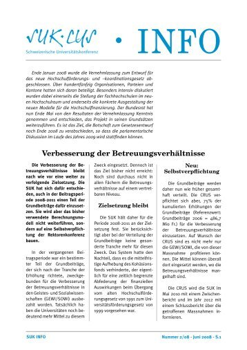 SUK-Info Nr. 2 2008 als PDF - Schweizerische Universitätskonferenz