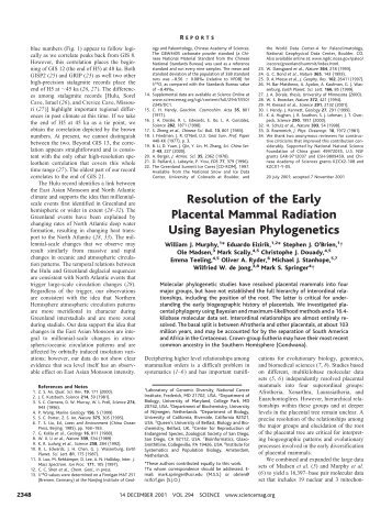 Resolution of the Early Placental Mammal Radiation Using ...