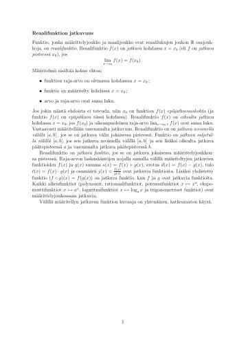 Reaalifunktion jatkuvuus Funktio, jonka määrittelyjoukko ja ... - Koppa