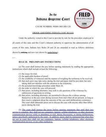 Order Amending Indiana Jury Rules - Floyd County Indiana - State ...
