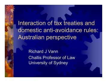 Interaction of tax treaties and domestic anti-avoidance rules ...
