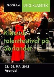 Klassisk talentfestival på Sørlandet Klassisk talentfestival på Sørlandet