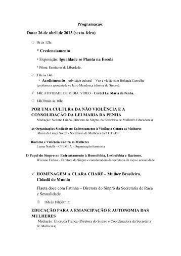 Programação: Data: 26 de abril de 2013 (sexta-feira ... - Sinpro-DF