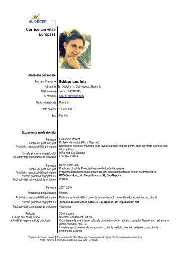Curriculum vitae Europass - Fundatia Celibidache