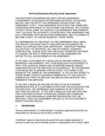 GESC Portal (or Account) Agreement - GeoTrust