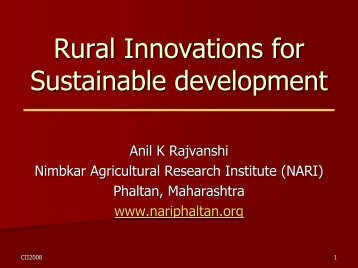 Rural Innovations for Sustainable development - NARI