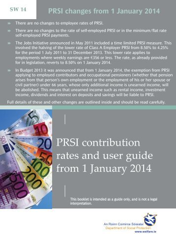 PRSI contribution rates and user guide from 1 January ... - Welfare.ie