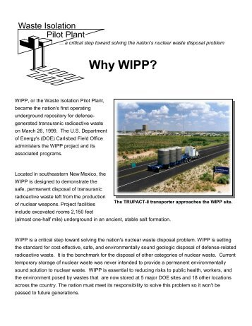 Why WIPP? - Fact Sheet - Waste Isolation Pilot Plant - U.S. ...