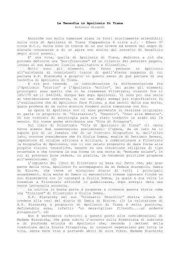 La Teosofia in Apollonio Di Tiana Antonio Girardi Ancorché non ...