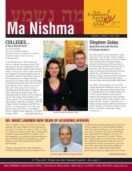 COLLEGES... Stephen Golas - New Community Jewish High School