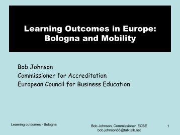 Learning Outcomes in Europe: Bologna and Mobility