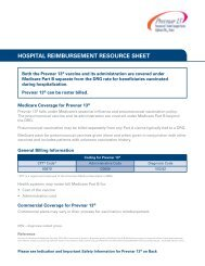 HOSPITAL REIMBURSEMENT RESOURCE SHEET - PfizerPro