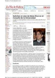 Solicitan el cese de Elena Rivo en el Consello de la ... - Duvi