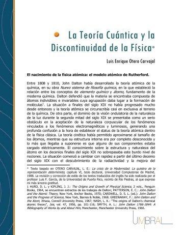 La Teoria Cuantica y la Discontinuidad de la Fisica Otero ... - Umbral