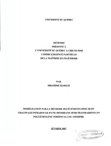 Modélisation par la méthode des éléments finis 3d du ... - Depositum