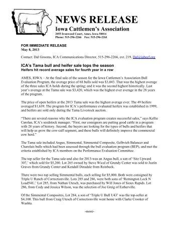 Tama sale results - Iowa Cattlemen's Association