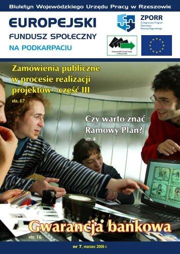 Biuletyn Europejski Fundusz Społeczny na Podkarpaciu nr 7 ...