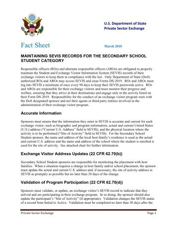 maintaining sevis records for the secondary school student category