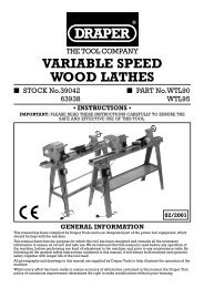 VARIABLE SPEED WOOD LATHES - Draper Tools
