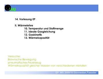 14. Vorlesung EP II. Wärmelehre 10. Temperatur und Stoffmenge 11 ...