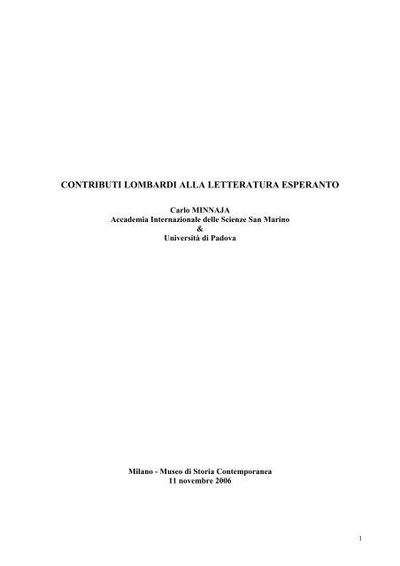 contributi lombardi alla letteratura esperanto - Federazione ...