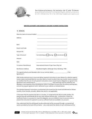 Isct New Debit Order Form - International School Of Cape Town