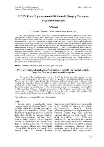 Progeny Testing - Tekirdağ Ziraat Fakültesi Dergisi
