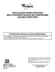 installation instructions for self-contained package air conditioners ...