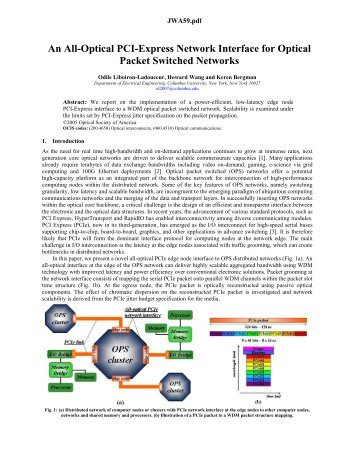 An All-Optical PCI-Express Network Interface for Optical Packet ...