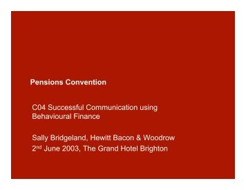 Pensions Convention C04 Successful ... - Trend Following
