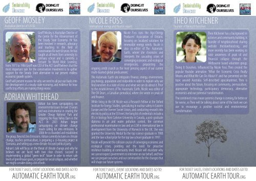 Automatic Earth Tour melbourne program - Indymedia Australia