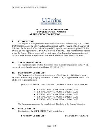 sample letter form gift agreement - SupportingAdvancement