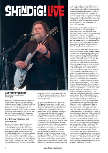 Download the Austin Psych Fest review as a PDF - Shindig! Magazine