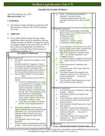 Checklist On Transfer Of Shares - Sa-Dhan