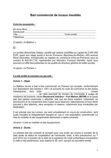 Bail commercial de locaux meublés - Cn2i.fr