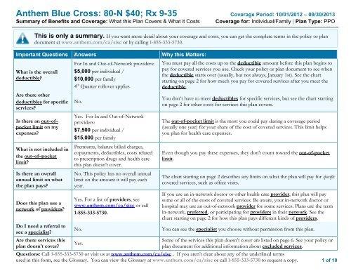 Anthem Blue Cross: 80-N $40