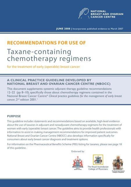 Taxane Containing Chemotherapy Regimens Cancer Australia