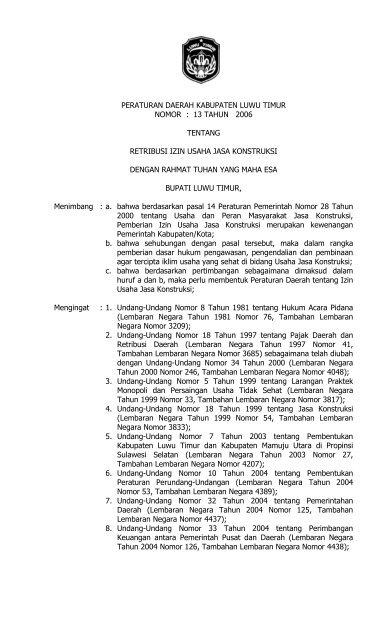 Retribusi Izin Usaha Jasa Konstruksi Pemerintah Kabupaten Luwu