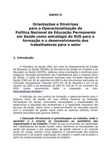 Orientações e Diretrizes para a Operacionalização da Política ...