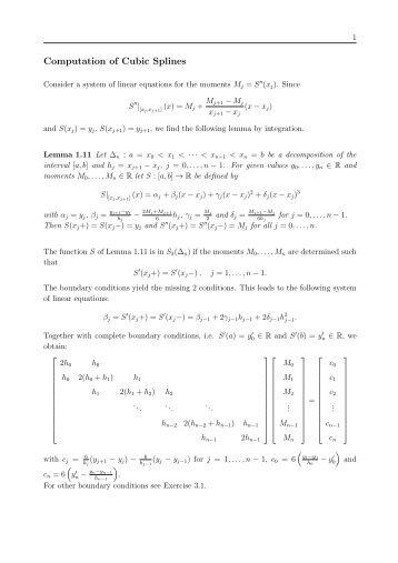 Computation of Cubic Splines