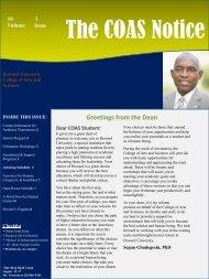 The COAS Notice Newsletter - Howard University
