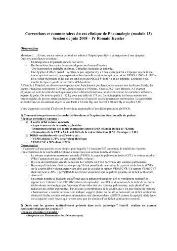 Corrections et commentaires du cas clinique de Pneumologie ...