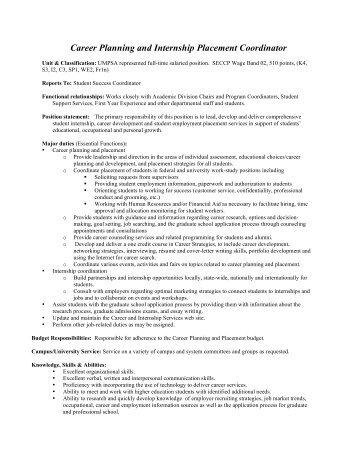Amazing Career Internship Coordinator Job Description