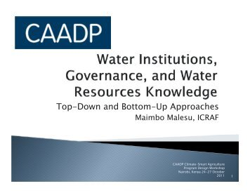 Top-Down and Bottom-Up Approaches - CAADP
