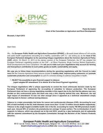 EPHAC Letter - European Public Health Alliance